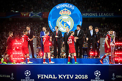 UEFA President Aleksander Ceferin congrats Adam Lallana of Liverpool  after the UEFA Champions League Final between Real Madrid and Liverpool at NSC Olimpiyskiy Stadium on May 26, 2018 in Kiev, Ukraine. Photo by Sandi Fiser / Sportida