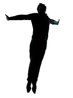 one caucasian business man  jumping flying wellness silhouette Full length in studio isolated on white background