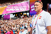 Great Britain, London - 2017 August 05: Ireneusz Bukowiecki trainer coach of Konrad Bukowiecki (Gwardia Szczytno) of Poland looks forward while men&rsquo;s shot put qualification during IAAF World Championships London 2017 Day 2 at London Stadium on August 05, 2017 in London, Great Britain.<br /> <br /> Mandatory credit:<br /> Photo by &copy; Adam Nurkiewicz<br /> <br /> Adam Nurkiewicz declares that he has no rights to the image of people at the photographs of his authorship.<br /> <br /> Picture also available in RAW (NEF) or TIFF format on special request.<br /> <br /> Any editorial, commercial or promotional use requires written permission from the author of image.