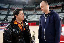 Head coach of Olimpija Jure Zdovc and head coach of Lottomatica Saso Filipovski during practice session of basketball club KK Union Olimpija day before Euroleague Top 16 Round Match vs Lottomatica Roma, on January 19, 2011 in Arena PalaLottomatica, Rome, Italy. (Photo By Vid Ponikvar / Sportida.com)
