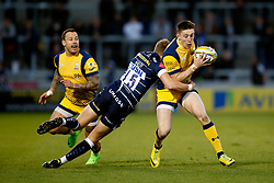 Mike Haley of Sale Sharks tackles Josh Adams of Worcester Warriors - Mandatory by-line: Matt McNulty/JMP - 07/04/2017 - RUGBY - AJ Bell Stadium - Sale, England - Sale Sharks v Worcester Warriors - Aviva Premiership