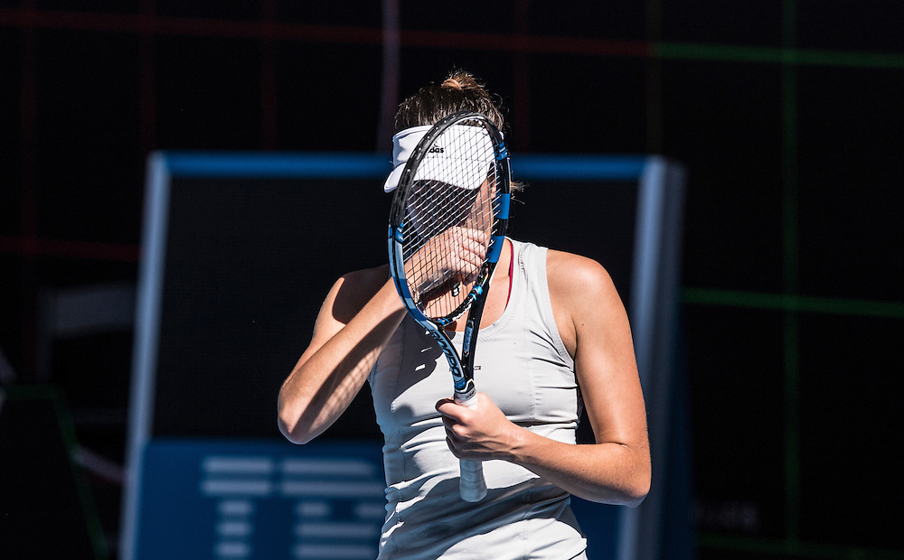 Garbi&ntilde;e Muguruza of Spain during a practice session ahead of the 2017 Australian Open at Melbourne Park on January 11, 2017 in Melbourne, Australia.<br /> (Ben Solomon/Tennis Australia)