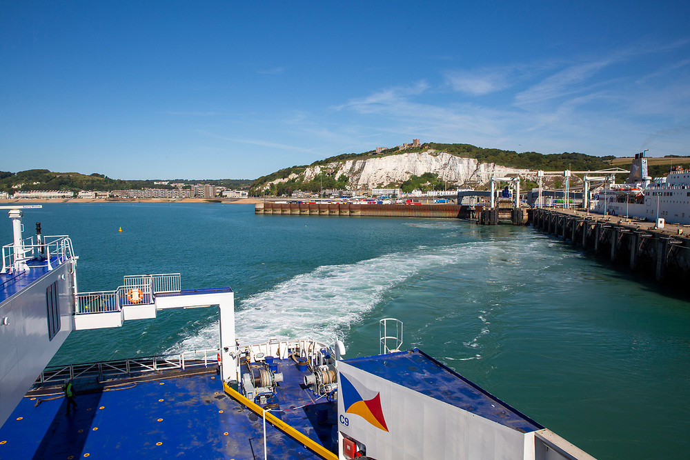 On board a P&O ferry departing from the Eastern Dock of the Port of Dover, where the cross channel port is situated with ferries departing here to go to Calais in France. Dover, Kent, United Kingdom.  Dover is the nearest port to France with just 34 kilometres (21 miles) between them. It is one of the busiest ports in the world. As well as freight container ships it is also the main port for P&O and DFDS Seaways ferries.  (photo by Andrew Aitchison / In pictures via Getty Images)