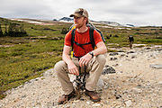 Alan Schmidt and Dave Costello hiking in the Tweedsmuir National Park, BC, Canada