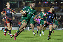 November 3, 2018 - Galway, Ireland - Colby Fainga'a of Connacht runs with the ball to score a try during the Guinness PRO14 match between Connacht Rugby and Dragons at the Sportsground in Galway, Ireland on November 3, 2018  (Credit Image: © Andrew Surma/NurPhoto via ZUMA Press)