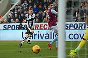 A Newcastle United midfielder Jack Colback (4) shot is heading goal wards during the EFL Sky Bet Championship match between Newcastle United and Aston Villa at St. James's Park, Newcastle, England on 20 February 2017. Photo by Simon Davies.