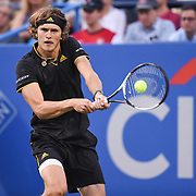 ALEXANDER ZVEREV hits a backhand during his semifinal match at the Citi Open at the Rock Creek Park Tennis Center in Washington, D.C.