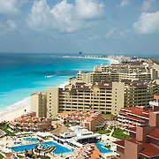 Aerial view of hotel zone. Cancun, Quintana Roo, Mexico.