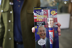 © Licensed to London News Pictures . 17/02/2018. Birmingham, UK. A member with a talking Nigel Farage pen . The NEC of UKIP meet to decide leader Henry Bolton's fate as leader following a racism row over his girlfriend Jo Marney and controversy over his claimed qualifications whilst serving in the military . Photo credit: Joel Goodman/LNP