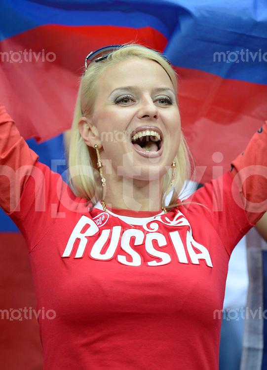 FUSSBALL  EUROPAMEISTERSCHAFT 2012   VORRUNDE Polen - Russland             12.06.2012 Weiblicher Fan der russischen Nationalmannschaft