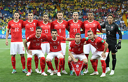 ROSTOV-ON-DON, June 17, 2018  Players of Switzerland pose for a group photo prior to a group E match between Brazil and Switzerland at the 2018 FIFA World Cup in Rostov-on-Don, Russia, June 17, 2018. (Credit Image: © Li Ming/Xinhua via ZUMA Wire)