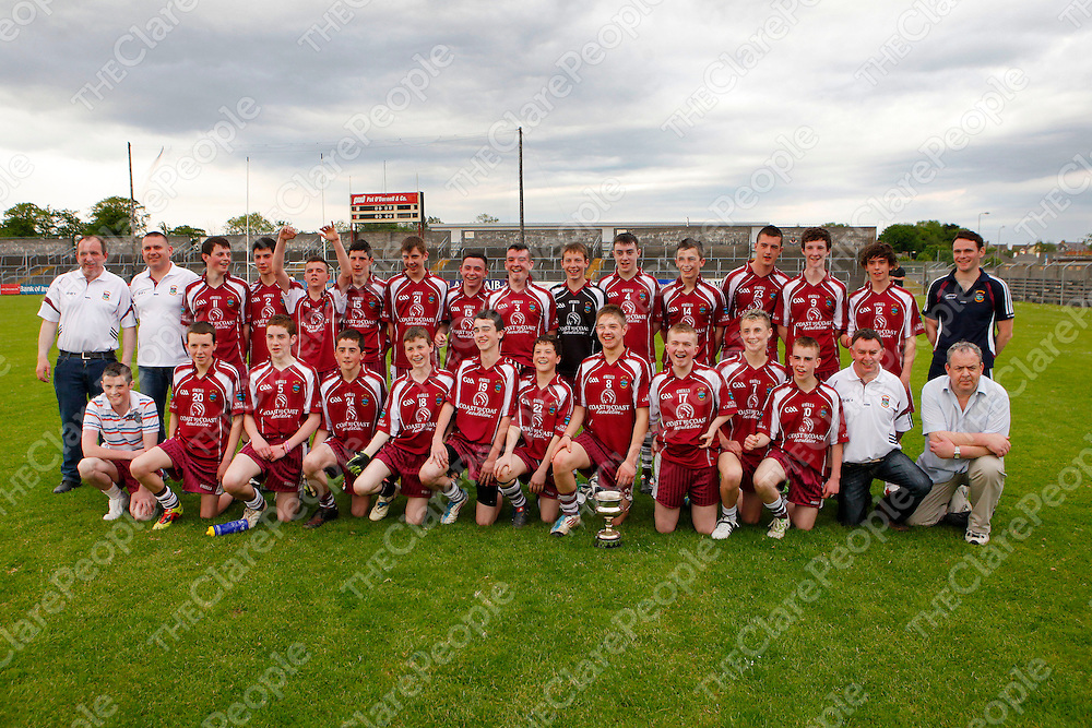 27/05/12<br /> Lissycasey players and management celebrate with the trophy following victory over Eire Og in the U16 Division 1 A Final at Cusack Park, Ennis on Sunday.<br /> Picture: Don Moloney / Press 22