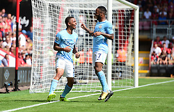 Gabriel Jesus of Manchester City celebrates his goal with Raheem Sterling of Manchester City - Mandatory by-line: Alex James/JMP - 26/08/2017 - FOOTBALL - Vitality Stadium - Bournemouth, England - Bournemouth v Manchester City - Premier League