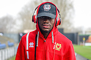 Portrait off Milton Keynes Dons striker (on loan from Fortuna Dusseldorf) Maecky Ngombo (7) wearing his Beats by Dr Dre headphones during the EFL Sky Bet League 1 match between Oxford United and Milton Keynes Dons at the Kassam Stadium, Oxford, England on 11 February 2017. Photo by Dennis Goodwin.