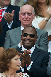 LONDON, ENGLAND - Saturday, June 26, 2010: Brian Lara and Bobby Charlton in the Royal Box on Centre Court on day six of the Wimbledon Lawn Tennis Championships at the All England Lawn Tennis and Croquet Club. (Pic by David Rawcliffe/Propaganda)