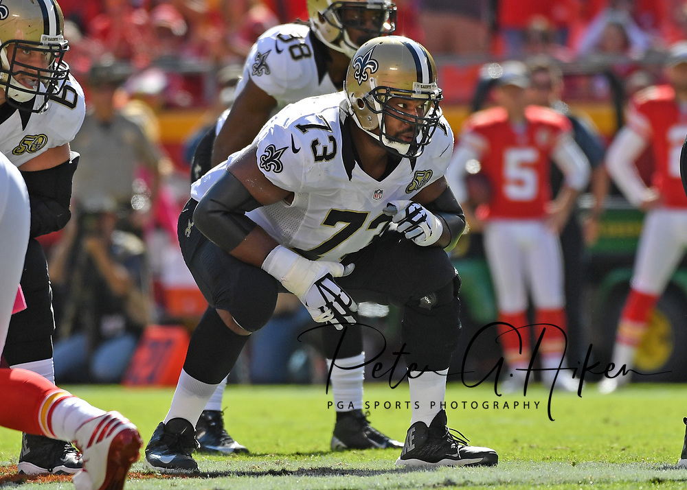 KANSAS CITY, MO - OCTOBER 23:  Offensive guard Jahn Evans #73 of the New Orleans Saints gets set on the line against the Kansas City Chiefs during the second half on October 23, 2016 at Arrowhead Stadium in Kansas City, Missouri.  (Photo by Peter G. Aiken/Getty Images) *** Local Caption *** Jahn Evans
