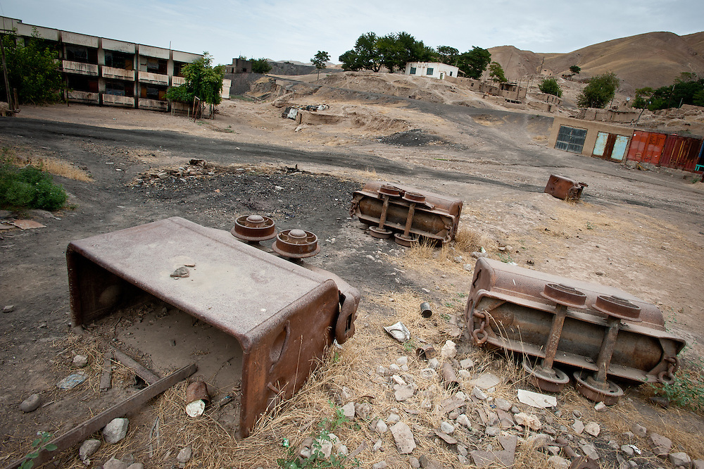 Coal cars strewn about the property of the Karkara Coal Mine.