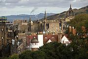 View of Old Town from Edinburgh Castle. Edinburgh, Scotland, UK