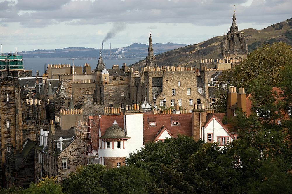 View of Old Town from Edinburgh Castle. Edinburgh, Scotland, UK