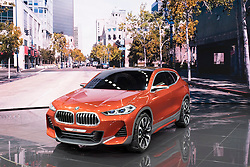 View of world premiere of BMW X2 concept SUV at Paris Motor Show 2016