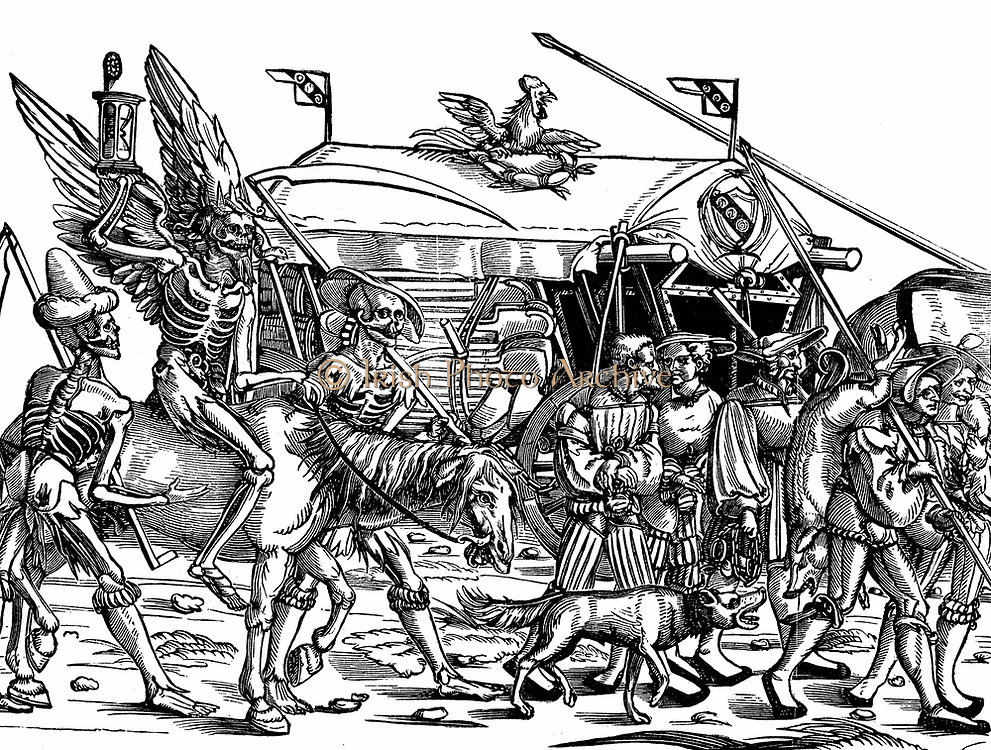 Death'. Allegorical print of War after German painter and engraver Hans Sebald Beham (1500-1550).  In background, baggage wagon with sappers' tools, including barrels of explosive. In front, soldiers carry booty including pig they have commandeered. Beh