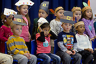 "Middletown, New York - Preschool and pre-K students perform in the ""YMCA Thanksgiving Day Spectacular"" on the stage of the Center for Youth Programs on Nov. 27, 2013."
