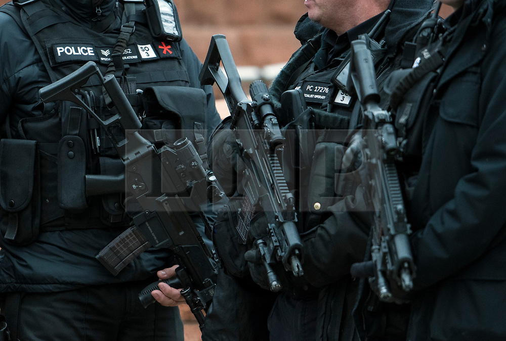 © Licensed to London News Pictures. 04/10/2017. Manchester, UK. Armed police seen on the final day of the Conservative Party Conference. The four day event is expected to focus heavily on Brexit, with the British prime minister hoping to dampen rumours of a leadership challenge. Photo credit: Ben Cawthra/LNP
