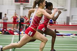 Boston University Multi-team indoor track & field, women 60 meter hurdles, BU 383, 385