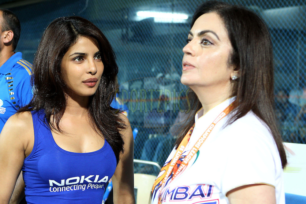 Priyanka Chopra chats with Nita Ambani during the Final of the NOKIA Champions League T20 ( CLT20 ) between The Royal Challengers Bangalore and The Mumbai Indians held at the M. A. Chidambaram Stadium in Chennai , Tamil Nadu, India on the 9th October 2011..Photo by Ron Gaunt/BCCI/SPORTZPICS
