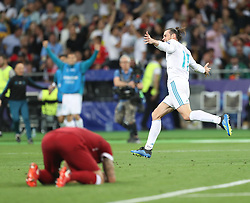 May 26, 2018 - Kiev, Ukraine - Gareth Bale of Real Madrid celebrates scoring his side's first goal during the UEFA Champions League Final between Real Madrid and Liverpool at NSC Olimpiyskiy Stadium on May 26, 2018 in Kiev, Ukraine. (Credit Image: © Raddad Jebarah/NurPhoto via ZUMA Press)