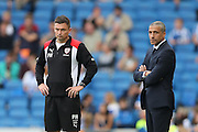 Barnsley FC head coach (manager) Paul heckingbottom and Brighton Manager, Chris Hughton during the EFL Sky Bet Championship match between Brighton and Hove Albion and Barnsley at the American Express Community Stadium, Brighton and Hove, England on 24 September 2016.