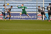 Coventry City Defender Chris Stokes opens the scoring during the Sky Bet League 1 match between Coventry City and Bury at the Ricoh Arena, Coventry, England on 13 February 2016. Photo by Dennis Goodwin.