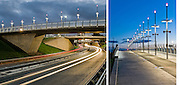Architectural photographs of the footbridge built to connect Partick Interchange with Glasgow Harbour.