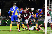 Scramble in the Northampton Town box during the EFL Sky Bet League 1 match between Northampton Town and Shrewsbury Town at Sixfields Stadium, Northampton, England on 20 March 2018. Picture by Dennis Goodwin.