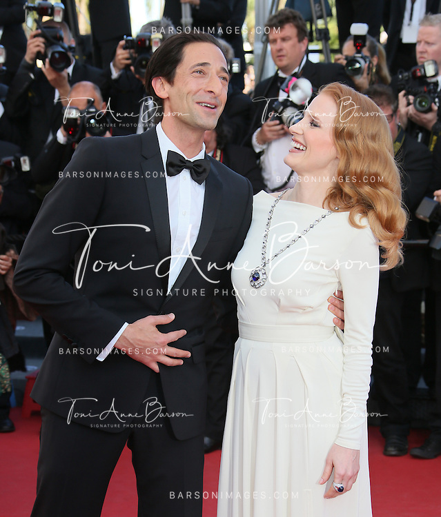 CANNES, FRANCE - MAY 21:  Adrien Brody and  Jessica Chastain attend 'Behind The Candelabra' Premiere during The 66th Annual Cannes Film Festival on May 21, 2013 in Cannes, France.  (Photo by Tony Barson/FilmMagic)