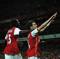 Photo: Tony Oudot.<br /> Arsenal v Manchester City. The Barclays Premiership. 17/04/2007.<br /> Cesc Fabregas of Arsenal celebrates scoring the second goal