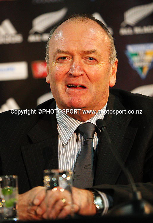 Graham Henry shows his pleasure at the win.<br /> Philips Tri Nations, All Blacks vs South Africa at Westpac Stadium, Wellington, New Zealand, Saturday 5 July 2008. Photo: Dave Lintott/PHOTOSPORT