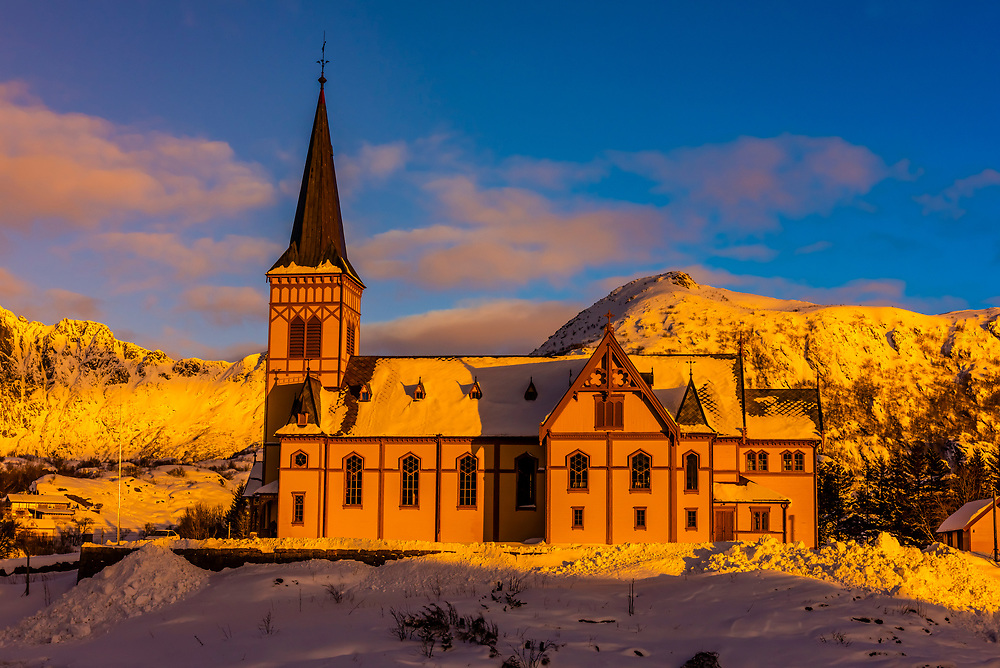 Lofoten Cathedral (Vagan Church) in the village of Kabelvag, outside Svolvaer, on Austvagoya Island, Lofoten Islands, Arctic, Northern Norway.