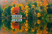 Boathouse and reflection in atumn<br /> Rosseau<br /> Ontario<br /> Canada