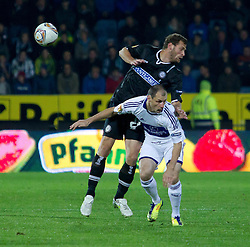 20.10.2011, UPC Arena, Graz, AUT, UEFA Europa League, Sturm Graz vs RSC Anderlecht, im Bild Milan Jovanovic (RSC Anderlecht, Offense, #11) und Juergen Saeumel (SK Sturm Graz, #28, Midfield) // during UEFA Europa League football game between Sturm Graz and RSC Anderlecht at UPC Arena in Graz, Austria on 20/10/2011. EXPA Pictures © 2011, PhotoCredit: EXPA/ E. Scheriau