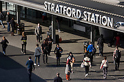 Aerial view of commuters Stratford station in east London, the rail transport hub for the 2012 Olympics.