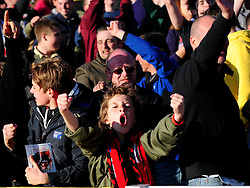 A Brentford fan celebrates his teams late equaliser  - Photo mandatory by-line: Joe Meredith/JMP - Tel: Mobile: 07966 386802 04/05/2013 - SPORT - FOOTBALL - County Ground - Swindon - Swindon Town v Brentford - Npower League one Play Off