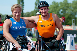 TAHTI Leo Pekka, van WEEGHEL Kenny, FIN, NED, 100m, T54, 2013 IPC Athletics World Championships, Lyon, France