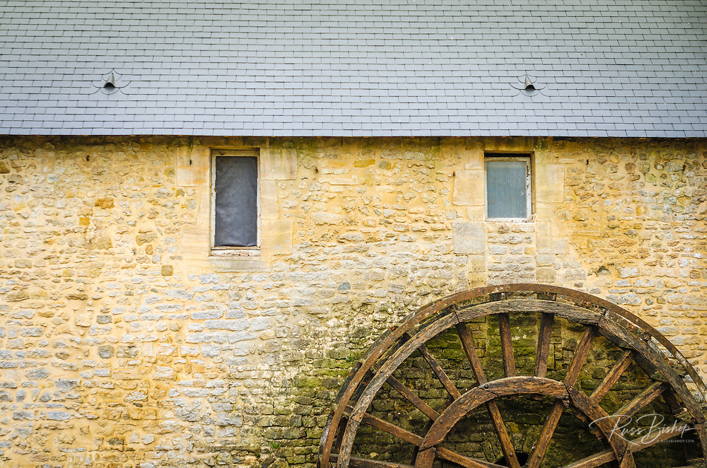 Waterwheel and stone building, Bayeux, Normandy, France