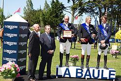 Podium : <br /> 1. Nick SKelton (GBR)<br /> 2. Philippe Le Jeune (BEL)<br /> 3. Ben Maher (GBR)<br /> Grand Prix Longines de la ville de La Baule 2012<br /> © Dirk Caremans