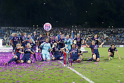 (L-R) Eugenie Le Sommer of Olympique Lyonnais, goalkeeper Sarah Bouhaddi of Olympique Lyonnais, Ada Hegerberg of Olympique Lyonnais, Shanice van de Sanden of Olympique Lyonnais, Saki Kumagai of Olympique Lyonnais UEFA WomenÕs Champions League trophy during the UEFA Women's Champions League final match between VfL Wolfsburg women and Olympique Lyonnais women on May 24, 2018 at  Valeriy Lobanovskiy Dynamo Stadium in Kyiv, Ukraine