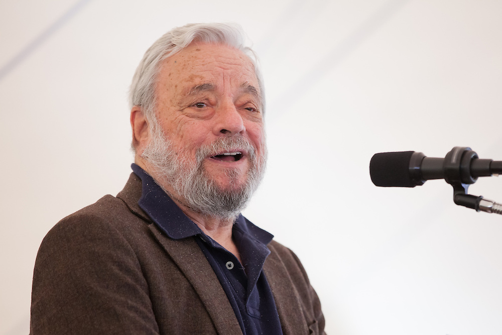 "Broadway composer and lyricist Stephen Sondheim speaks after accepting the Edward MacDowell Medal for lifetime achievement, at the MacDowell Colony, in Peterborough, NH on Sunday, August 11, 2013. Sondheim has won more Tony Awards than any other composer. His hit musicals include ""Follies,"" ''A Little Night Music"" and ""Sweeney Todd."" (Matthew Cavanaugh Photo)"