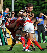Wycombe, GREAT BRITAIN,  Wasps. Joe WORSLEY, tackles as he  attacks on the wing during the Guinness Premiership match,  London Wasps vs Worcester Warriors at Adam's Park Stadium, Bucks on Sun 14.09.2008. [Photo, Peter Spurrier/Intersport-images]