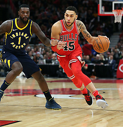 December 29, 2017 - Chicago, IL, USA - The Chicago Bulls' Denzel Valentine (45) drives around the Indiana Pacers' Lance Stephenson (1) in the first half at the United Center in Chicago on Friday, Dec. 29, 2017. The Bulls won, 119-107. (Credit Image: © Terrence Antonio James/TNS via ZUMA Wire)