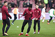 Hearts players in good spirits before the Ladbrokes Scottish Premiership match between Heart of Midlothian and Celtic at Tynecastle Stadium, Gorgie, Scotland on 17 December 2017. Photo by Kevin Murray.